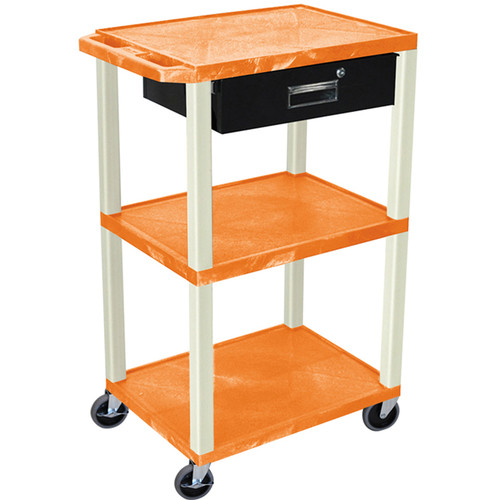 "Luxor 42"" A/V Cart with 3 Shelves, 3-Outlet Electrical Assembly, and Locking Drawer (Orange Shelves and Putty Legs)"