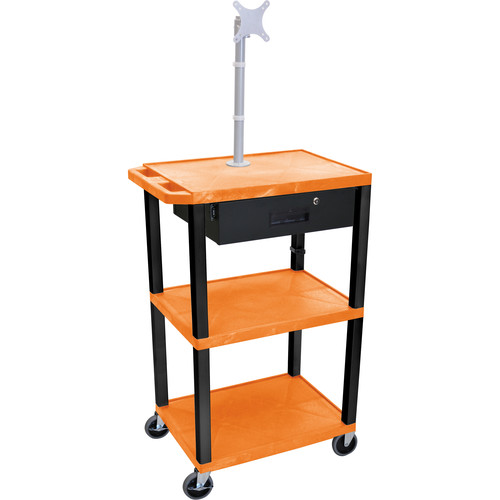 "Luxor 42"" A/V Cart with Monitor Mount, 3 Shelves, Locking Drawer & Electric Assembly (Orange)"