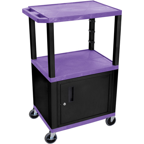 "Luxor 42"" A/V Cart with 3 Shelves and Cabinet (Purple Shelves, Black Legs)"