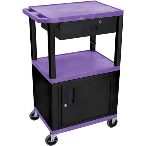 "Luxor 42"" A/V Cart with 3 Shelves, Cabinet, Locking Drawer, and Electrical Assembly (Purple Shelves, Black Legs)"