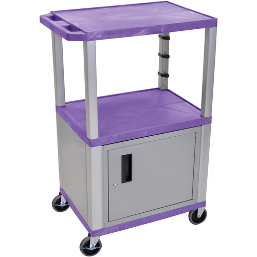 "Luxor 42"" A/V Cart with 2 Shelves and Cabinet (Purple Shelves, Nickel-Colored Legs and Cabinet)"