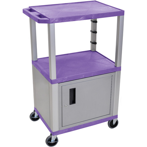 "Luxor 42"" A/V Cart with 2 Shelves, 3-Outlet Electrical Assembly, and Cabinet (Purple Shelves, Nickel-Colored Legs and Cabinet)"