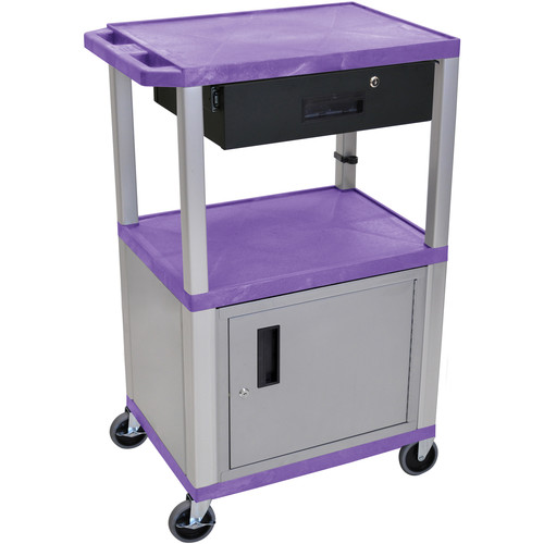 """Luxor 42"""" A/V Cart with 2 Shelves,Cabinet, 3-Outlet Electrical Assembly, and Locking Drawer (Purple Shelves, Nickel-Colored Legsand Cabinet)"""