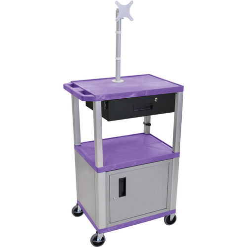 "Luxor 42"" A/V Cart with Monitor Mount, 3 Shelves, Cabinet, Locking Drawer & Electric Assembly (Purple)"