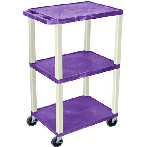 "Luxor 42"" A/V Cart with 3 Shelves and Electrical Assembly (Purple Shelves, Putty Legs)"