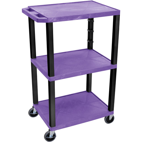 "Luxor 42"" A/V Cart with 3 Shelves and Electrical Assembly (Purple Shelves, Black Legs)"