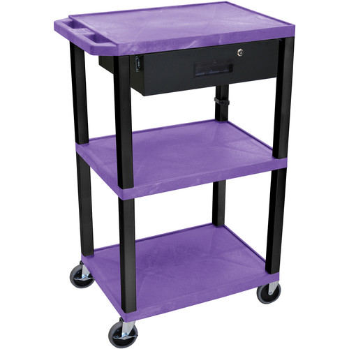 """Luxor 42"""" A/V Cart with 3 Shelves Locking Drawerand Electrical Assembly (Purple Shelves, Black Legs)"""