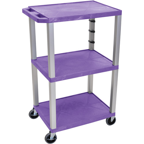 "Luxor 42"" A/V Cart with 3 Shelves and 3-Outlet Electrical Assembly (Purple Shelves, Nickel-Colored Legs)"