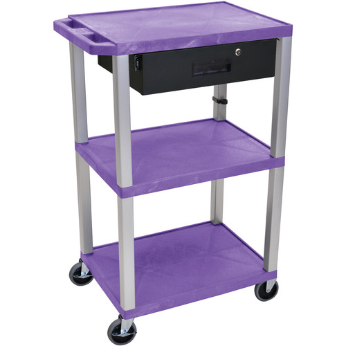"Luxor 42"" A/V Cart with 3 Shelves, 3-Outlet Electrical Assembly, and Locking Drawer (Purple Shelves, Nickel-Colored Legs)"