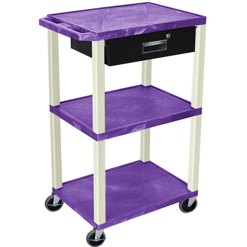 "Luxor 42"" A/V Cart with 3 Shelves, 3-Outlet Electrical Assembly, and Locking Drawer (Purple Shelves and Putty Legs)"