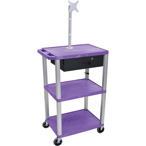 "Luxor 42"" A/V Cart with Monitor Mount, 3 Shelves, Locking Drawer & Electric Assembly (Purple)"