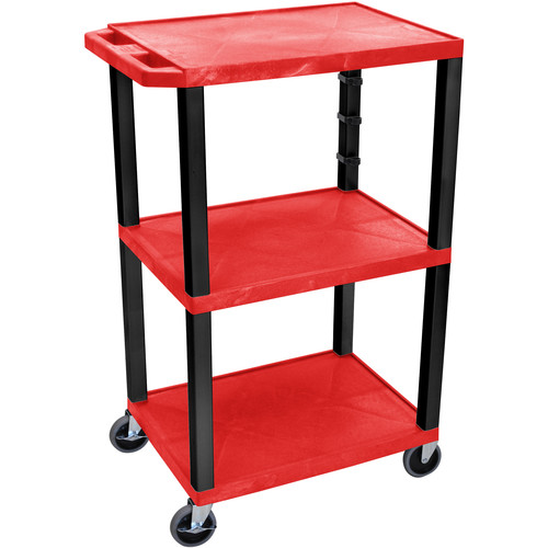 "Luxor 42"" A/V Cart with 3 Shelves (Red Shelves, Black Legs)"