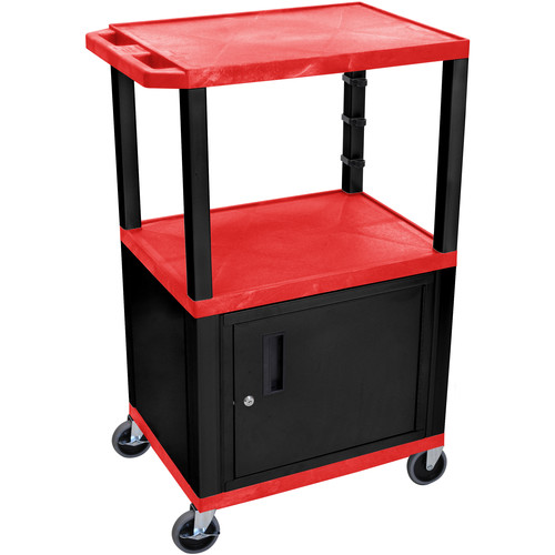 "Luxor 42"" A/V Cart with 3 Shelves and Cabinet (Red Shelves, Black Legs)"