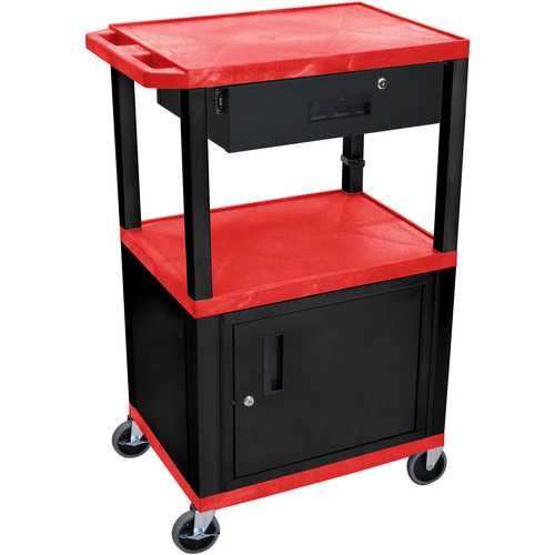"Luxor 42"" A/V Cart with 3 Shelves, Cabinet, Locking Drawer, and Electrical Assembly (Red Shelves, Black Legs)"