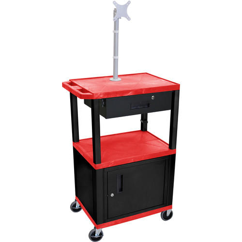 "Luxor 42"" A/V Cart with Monitor Mount, 3 Shelves, Cabinet, Locking Drawer & Electric Assembly (Red)"