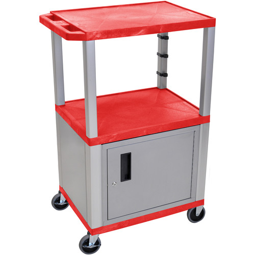 "Luxor 42"" A/V Cart with 2 Shelves and Cabinet (Red Shelves, Nickel-Colored Legs and Cabinet)"