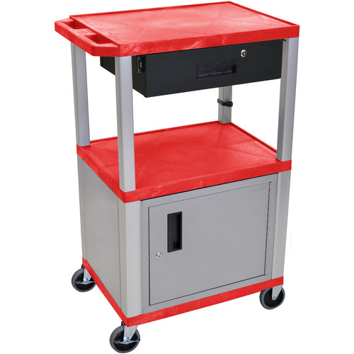 "Luxor 42"" A/V Cart with 2 Shelves, Cabinet, and Locking Drawer (Red Shelves, Nickel-Colored Legs and Cabinet)"