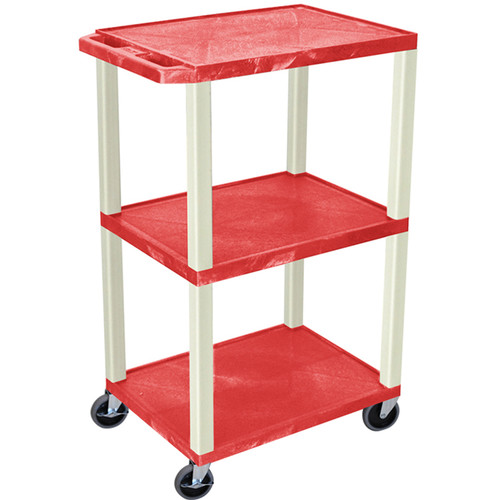 "Luxor 42"" A/V Cart with 3 Shelves and Electrical Assembly (Red Shelves, Putty Legs)"