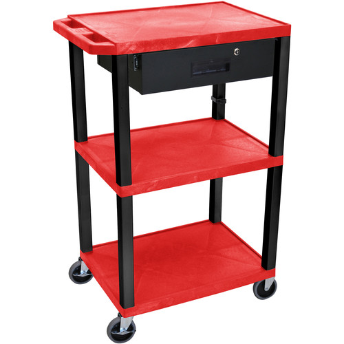 "Luxor 42"" A/V Cart with 3 Shelves Locking Drawer and Electrical Assembly (Red Shelves, Black Legs)"