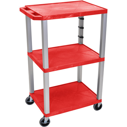 "Luxor 42"" A/V Cart with 3 Shelves and 3-Outlet Electrical Assembly (Red Shelves, Nickel-Colored Legs)"