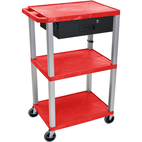 "Luxor 42"" A/V Cart with 3 Shelves, 3-Outlet Electrical Assembly, and Locking Drawer (Red Shelves, Nickel-Colored Legs)"