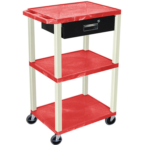 "Luxor 42"" A/V Cart with 3 Shelves, 3-Outlet Electrical Assembly, and Locking Drawer (Red Shelves and Putty Legs)"