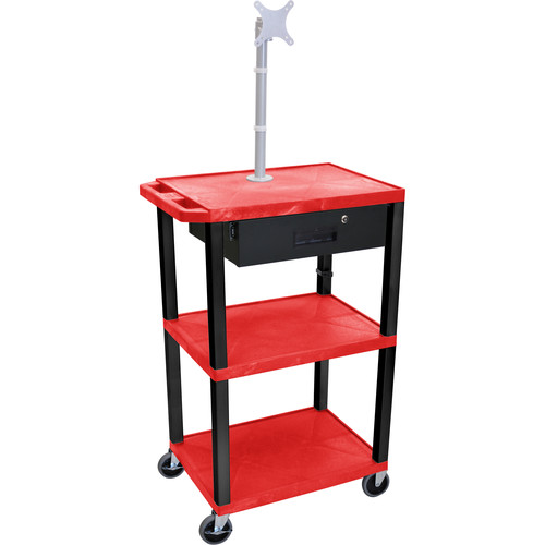 "Luxor 42"" A/V Cart with Monitor Mount, 3 Shelves, Locking Drawer & Electric Assembly (Red)"