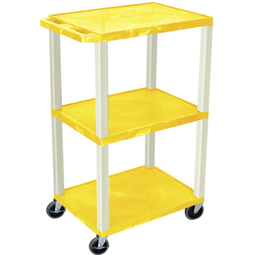 "Luxor 42"" A/V Cart with 3 Shelves (Yellow Shelves, Putty Legs)"