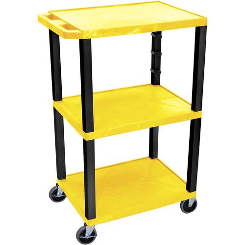 "Luxor 42"" A/V Cart with 3 Shelves (Yellow Shelves, Black Legs)"