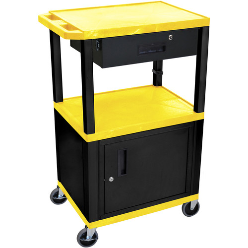 "Luxor 42"" A/V Cart with 3 Shelves, Cabinet, Locking Drawer, and Electrical Assembly (Yellow Shelves, Black Legs)"
