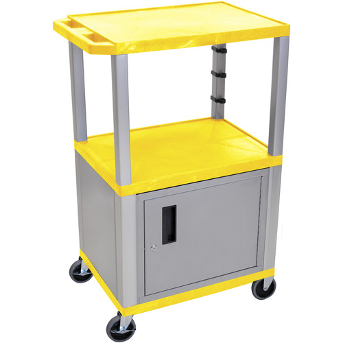 "Luxor 42"" A/V Cart with 2 Shelves, 3-Outlet Electrical Assembly, and Cabinet (Yellow Shelves, Nickel-Colored Legs and Cabinet)"
