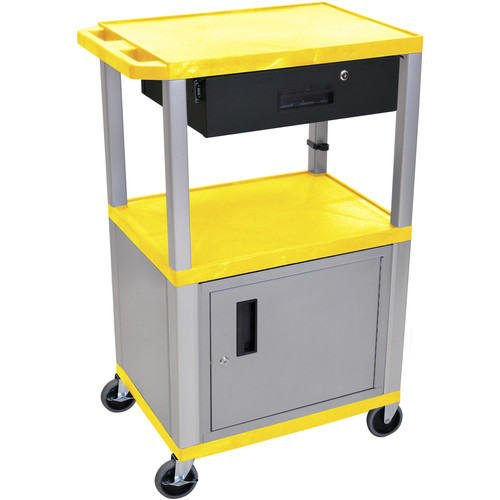 "Luxor 42"" A/V Cart with 2 Shelves, Cabinet, 3-Outlet Electrical Assembly, and Locking Drawer (Yellow Shelves, Nickel-Colored Legs and Cabinet)"