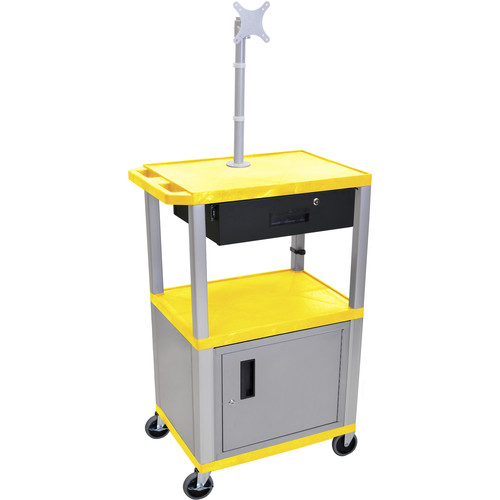 "Luxor 42"" A/V Cart with Monitor Mount, 3 Shelves, Cabinet, Locking Drawer & Electric Assembly (Yellow)"