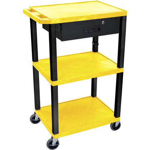 """Luxor 42"""" A/V Cart with 3 Shelves Locking Drawerand Electrical Assembly (Yellow Shelves, Black Legs)"""