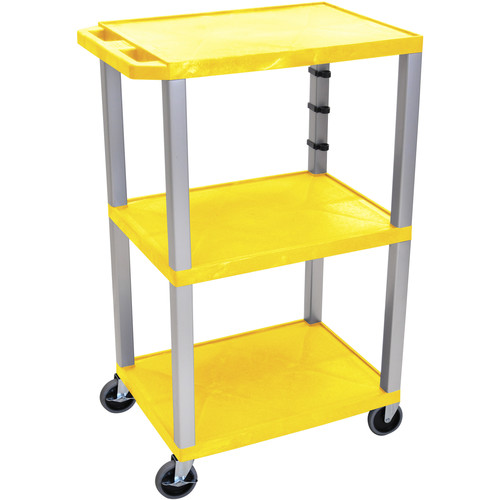 "Luxor 42"" A/V Cart with 3 Shelves and 3-Outlet Electrical Assembly (Yellow Shelves, Nickel-Colored Legs)"