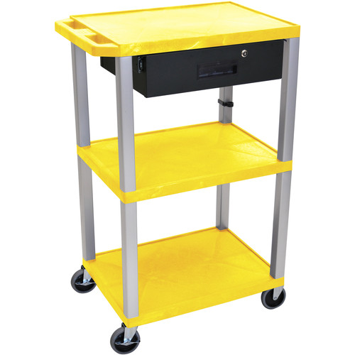 "Luxor 42"" A/V Cart with 3 Shelves, 3-Outlet Electrical Assembly, and Locking Drawer (Yellow Shelves, Nickel-Colored Legs)"