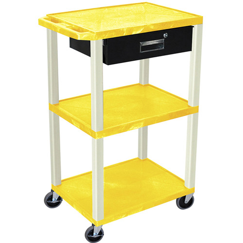 "Luxor 42"" A/V Cart with 3 Shelves, 3-Outlet Electrical Assembly, and Locking Drawer (Yellow Shelves and Putty Legs)"