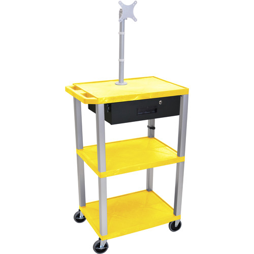 "Luxor 42"" A/V Cart with Monitor Mount, 3 Shelves, Locking Drawer & Electric Assembly (Yellow)"