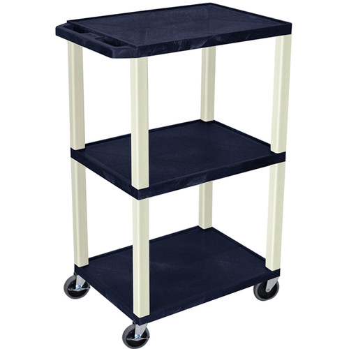 "Luxor 42"" A/V Cart with 3 Shelves (Navy Shelves, Putty Legs)"
