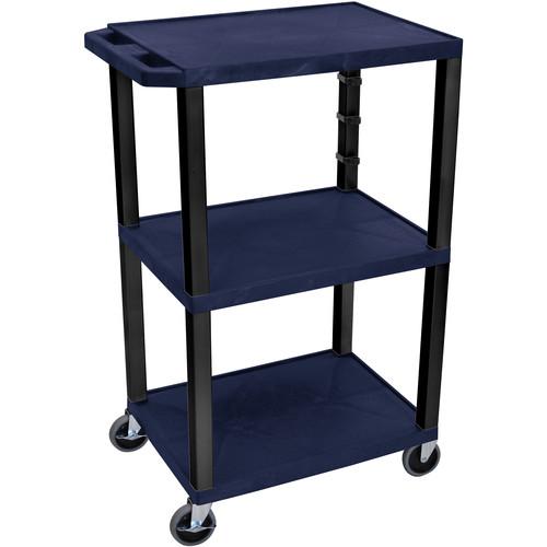 """Luxor 42"""" A/V Cart with 3 Shelves (Navy Shelves, Black Legs)"""