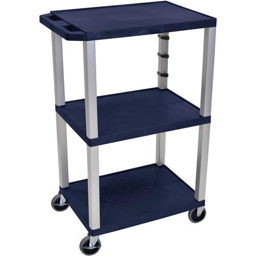 "Luxor 42"" Tuffy 3-Shelf Cart (Navy with Nickel Legs)"