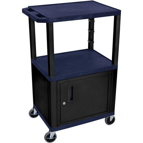 "Luxor 42"" A/V Cart with 3 Shelves and Cabinet (Navy Shelves, Black Legs)"