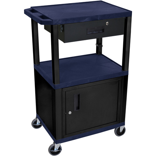 "Luxor 42"" A/V Cart with 3 Shelves, Cabinet, Locking Drawer, and Electrical Assembly (Navy Shelves, Black Legs)"