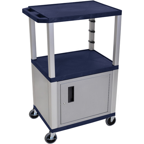 """Luxor 42"""" A/V Cart with 2 Shelvesand Cabinet (Navy Shelves, Nickel-Colored Legsand Cabinet)"""