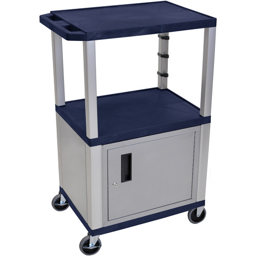 "Luxor 42"" A/V Cart with 2 Shelves, 3-Outlet Electrical Assembly, and Cabinet (Navy Shelves, Nickel-Colored Legs and Cabinet)"