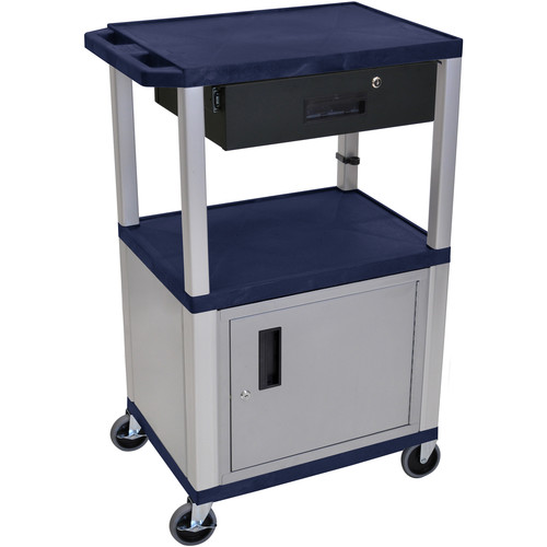 "Luxor 42"" A/V Cart with 2 Shelves, Cabinet, 3-Outlet Electrical Assembly, and Locking Drawer (Navy Shelves, Nickel-Colored Legs and Cabinet)"