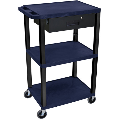 "Luxor 42"" A/V Cart with 3 Shelves Locking Drawer and Electrical Assembly (Navy Shelves, Black Legs)"