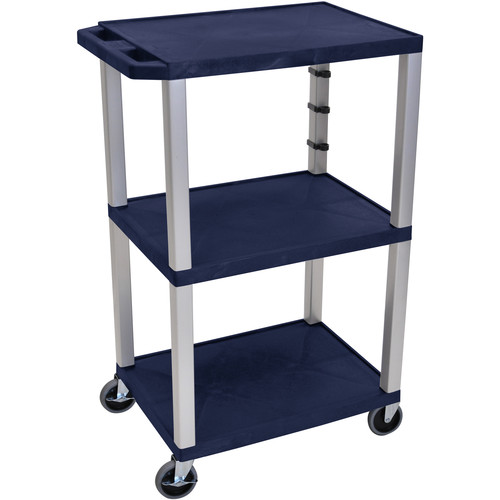 "Luxor 42"" A/V Cart with 3 Shelves and 3-Outlet Electrical Assembly (Navy Shelves, Nickel-Colored Legs)"