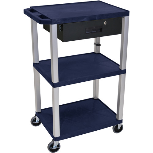 "Luxor 42"" A/V Cart with 3 Shelves, 3-Outlet Electrical Assembly, and Locking Drawer (Navy Shelves, Nickel-Colored Legs)"