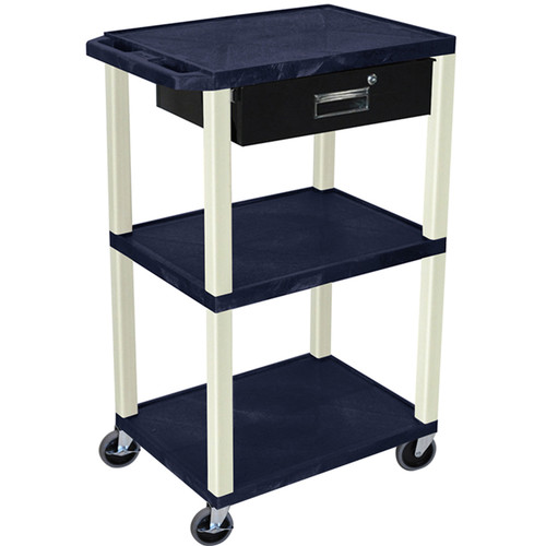 "Luxor 42"" A/V Cart with 3 Shelves, 3-Outlet Electrical Assembly, and Locking Drawer (Navy Shelves and Putty Legs)"